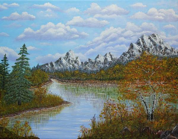 Mountain Landscape Print featuring the painting Autumn Mountains Lake Landscape by Georgeta Blanaru