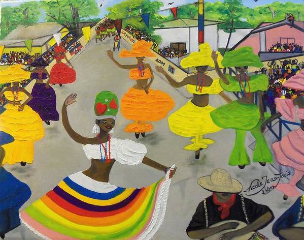 Carnival In Port-au-prince Haiti By Nicole Jean-louis Print featuring the painting Carnival In Port-au-prince Haiti by Nicole Jean-Louis