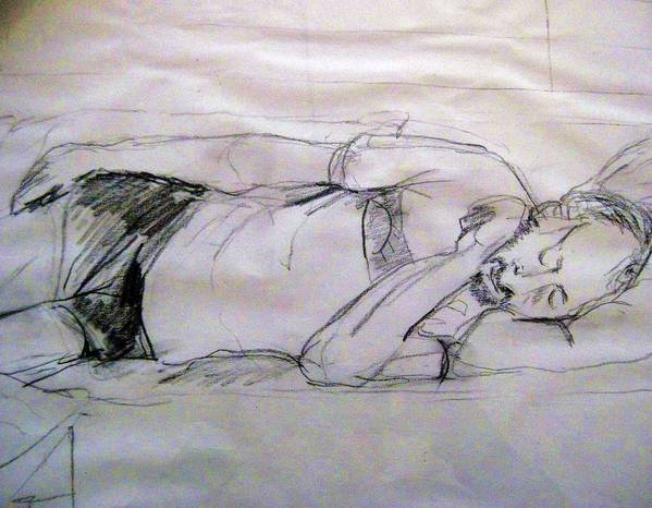 Dad Print featuring the drawing Dad Sleeping by Iris Gill