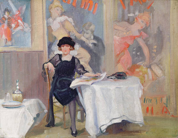 Lady Print featuring the painting Lady At A Cafe Table by Harry J Pearson