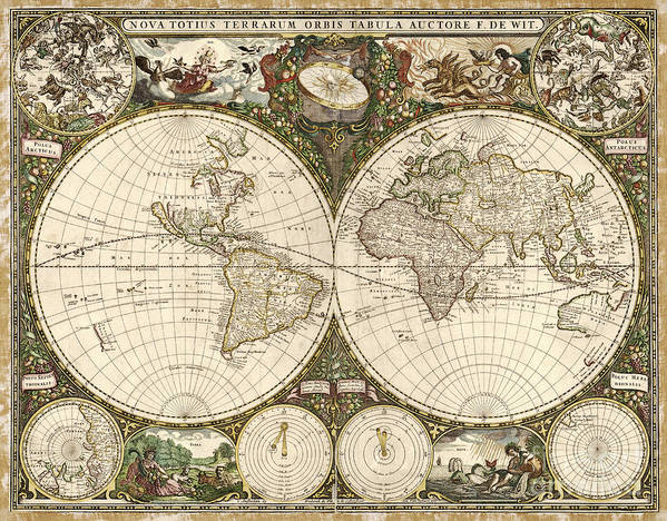 1600s Print featuring the photograph Map Of The World, 1660 by Photo Researchers