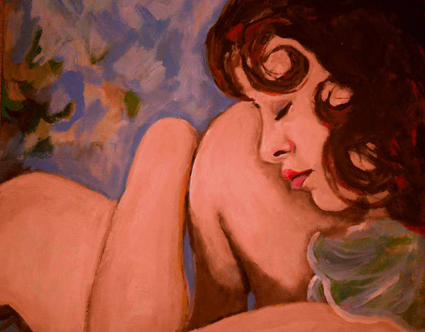 Girl Print featuring the painting Resting Girl by Adam Kissel