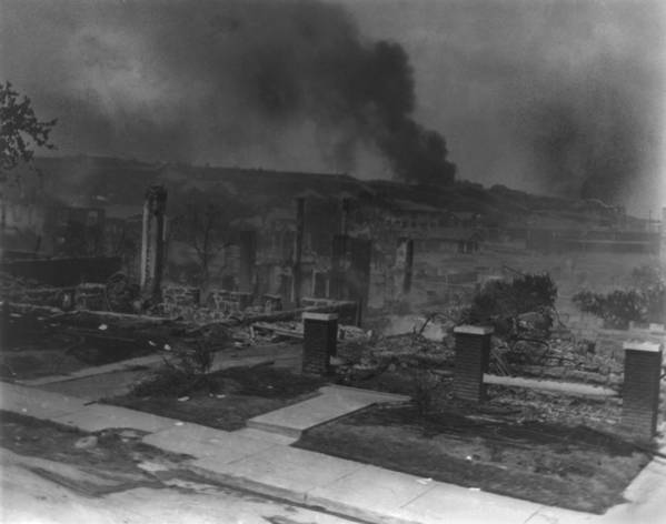 History Print featuring the photograph Smoldering Ruins Of African Americans by Everett