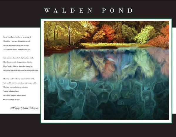 Walden Print featuring the digital art Walden Pond by David Glotfelty