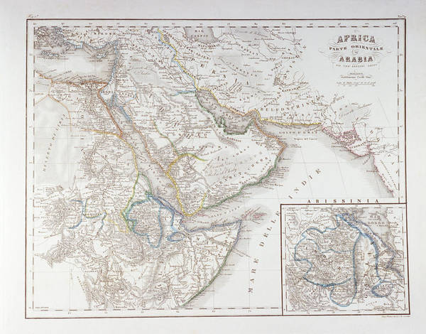 Horizontal Print featuring the digital art West Africa And Arabia by Fototeca Storica Nazionale