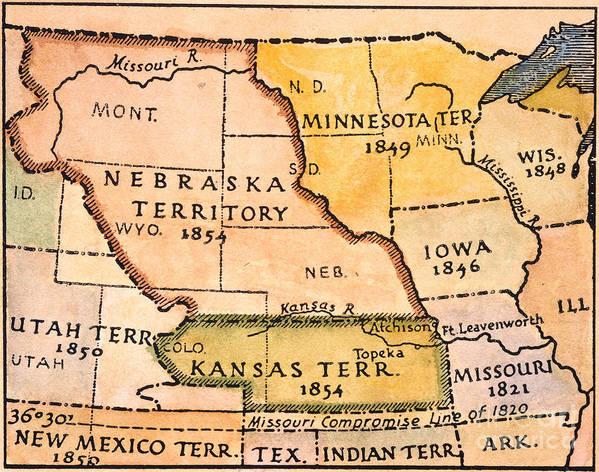 1854 Print featuring the painting Kansas-nebraska Map, 1854 by Granger