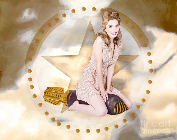 July Print featuring the photograph Antique Pin-up Girl On Missile. Bombshell Blond by Jorgo Photography - Wall Art Gallery