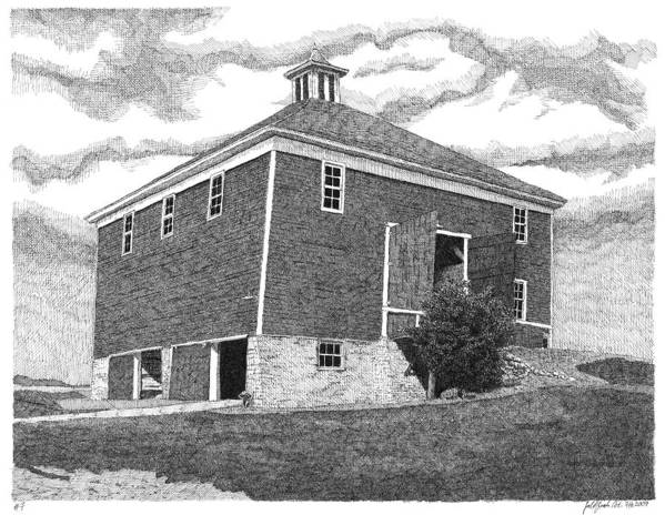 Iowa Barn Print featuring the drawing Barn 7 by Joel Lueck