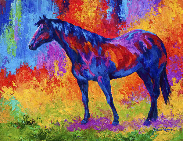 Horses Print featuring the painting Bay Mare II by Marion Rose