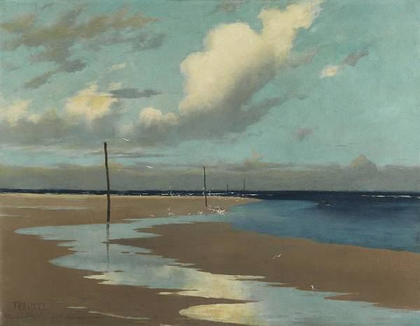 Beach Print featuring the painting Beach At Low Tide by Frederick Milner