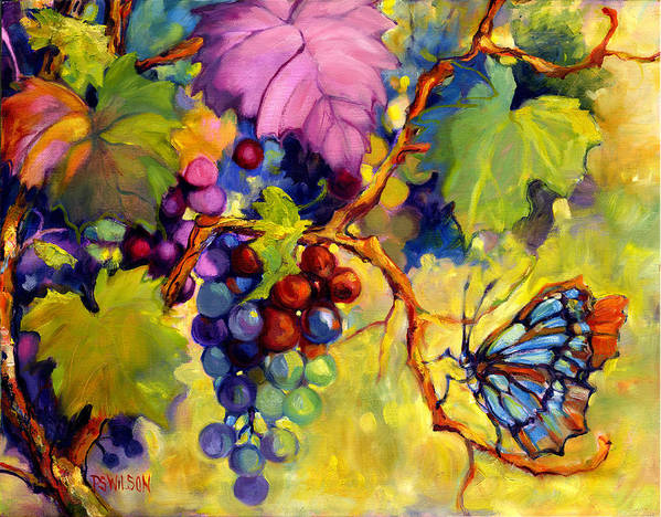 Butterfly Print featuring the painting Butterfly And Grapes by Peggy Wilson