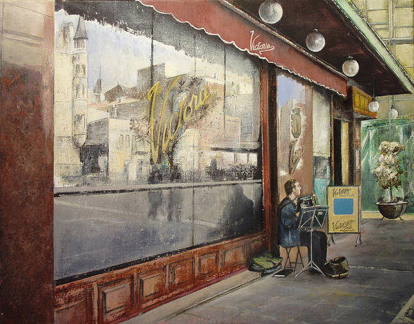 Cafe Print featuring the painting Cafe Victoria by Tomas Castano