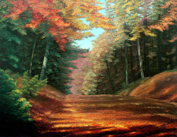 Autumn Woods Print featuring the painting Cressman's Woods by Hanne Lore Koehler