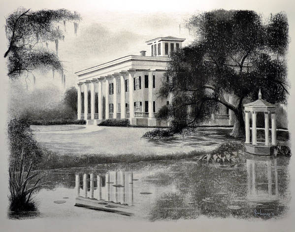 Greenwood Plantation Home Print featuring the drawing Greenwood Plantation by Ron Landry