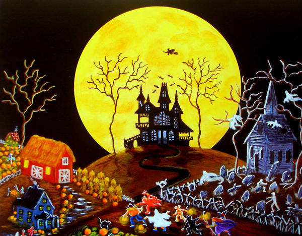 Halloween Print featuring the painting Keep Running by Christine Altmann