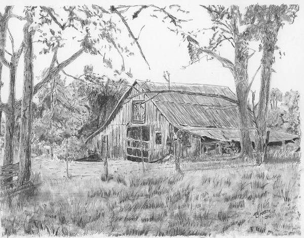 Old Barn Print featuring the drawing Old Barn 2 by Barry Jones