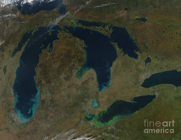 Lake Print featuring the photograph Satellite View Of The Great Lakes, Usa by Stocktrek Images