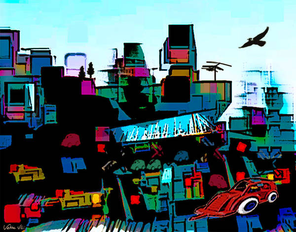 City Print featuring the digital art Toyland by Sabine Stetson