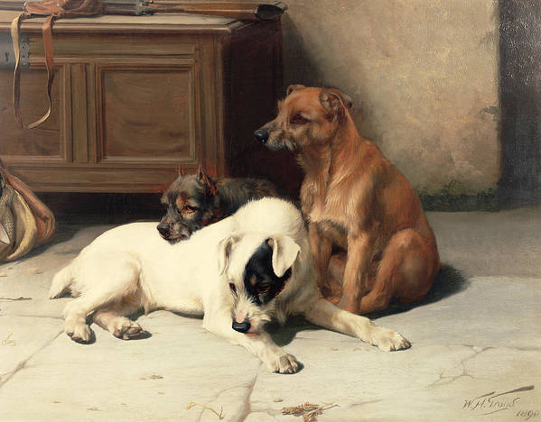 Waiting For Master Print featuring the painting Waiting For Master by William Henry Hamilton Trood
