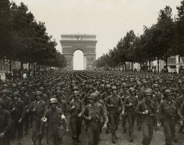 History Print featuring the photograph World War II. The Liberation Of Paris by Everett