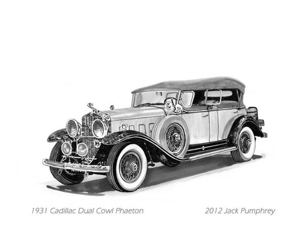 Pen And Ink Art Of Classic 1931 Cadillac Dual Cowl Phaeton By Jack Pumphrey Print featuring the painting 1931 Cadillac Phaeton by Jack Pumphrey
