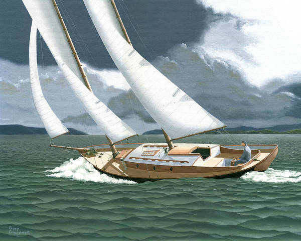 Gulf Islands Print featuring the painting A Passing Squall by Gary Giacomelli
