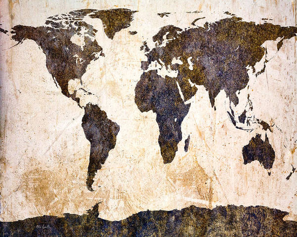 Map Print featuring the digital art Abstract Earth Map by Bob Orsillo