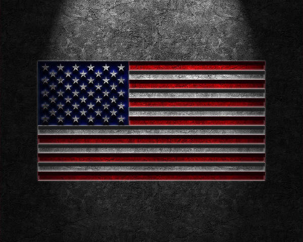 4th Of July Print featuring the digital art American Flag Stone Texture by Brian Carson