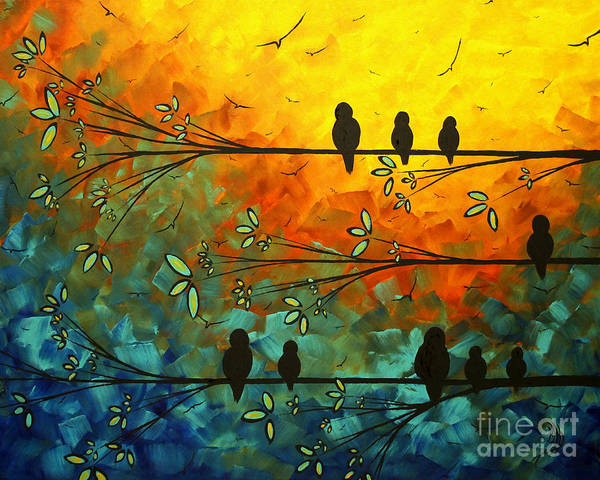 Painting Print featuring the painting Birds Of A Feather Original Whimsical Painting by Megan Duncanson