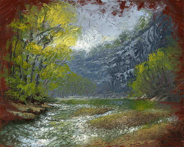 Water Print featuring the painting Buffalo River Bluff by Timothy Jones
