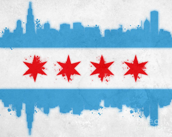 Chicago Print featuring the painting Chicago Flag by Mike Maher