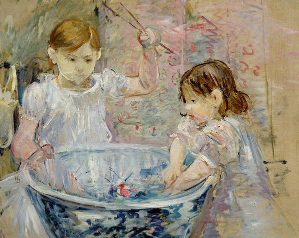 Enfants A La Vasque; Bowl; Girls; Girl; Little; Young; Youth; Innocence; Playing; Play; Water; Splashing; Fun; Porcelain; Concentration; Concentrating; Sisters; Impressionist; Occupied; Inv;6501 Print featuring the painting Children At The Basin by Berthe Morisot