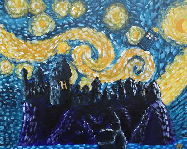 Fandom Print featuring the painting Dr Who Hogwarts Starry Night by Jera Sky
