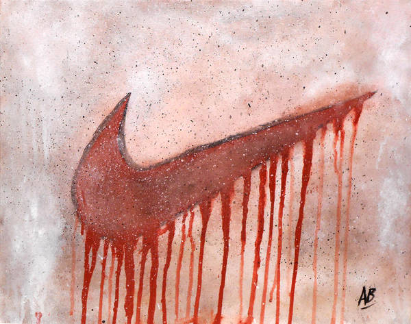 Abstract Nike Print featuring the painting Dripping Nike by Anwar Braxton