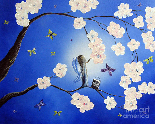 Butterfly Print featuring the painting Fairy Blossoms By Shawna Erback by Shawna Erback