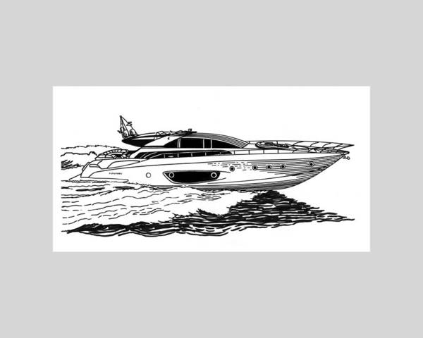 Ink Drawings By Jack Pumphrey Of Yacht Print featuring the drawing Fast Riva Motoryacht by Jack Pumphrey