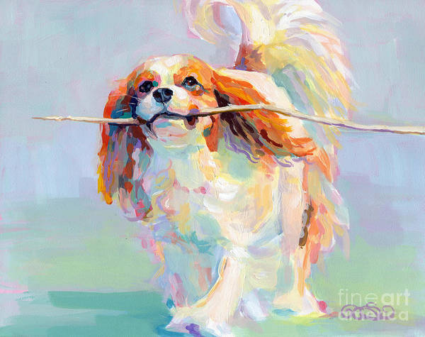 Cavalier King Charles Spaniel Print featuring the painting Fiddlesticks by Kimberly Santini
