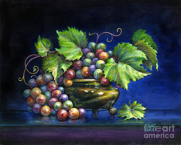 Still Life Print featuring the painting Grapes In A Footed Bowl by Jane Bucci
