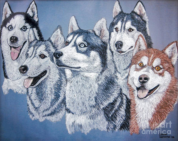 Huskies Print featuring the painting Huskies By J. Belter Garfunkel by Sheldon Kralstein
