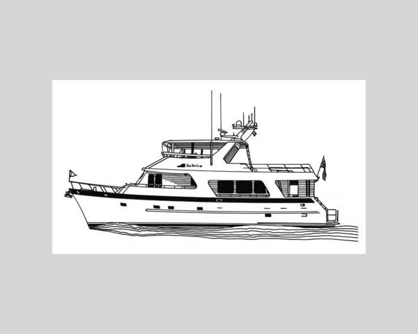 Yacht Portraits Print featuring the drawing Luxury Motoryacht by Jack Pumphrey