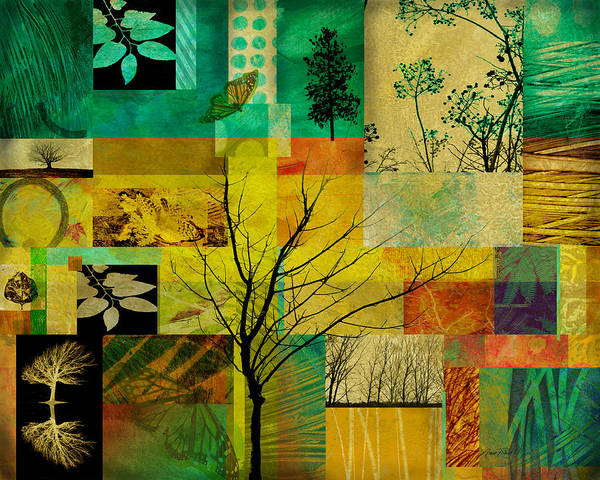 Collage Print featuring the digital art Nature Patchwork by Ann Powell