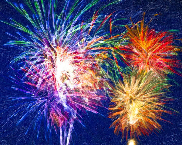 Fireworks Print featuring the digital art Painting With Light by Mark E Tisdale