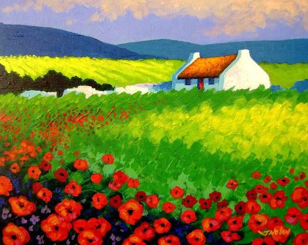 Ireland Print featuring the painting Poppy Field - Ireland by John Nolan