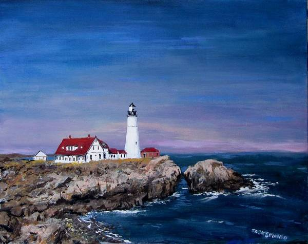 Lighthouse Print featuring the painting Portland Head Lighthouse by Jack Skinner
