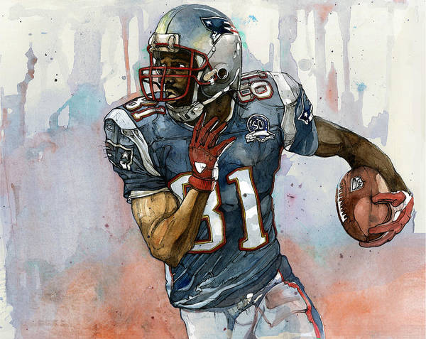 Randy Moss Print featuring the painting Randy Moss by Michael Pattison