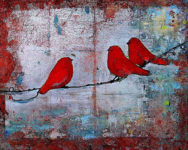 Red Birds Print featuring the painting Red Birds Let It Be by Blenda Studio