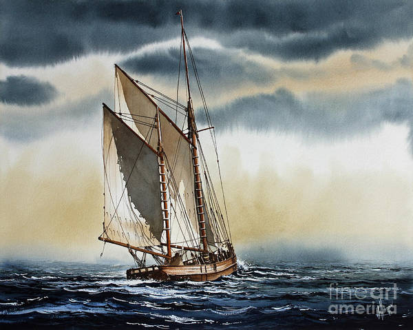 Schooner Art Print featuring the painting Schooner by James Williamson