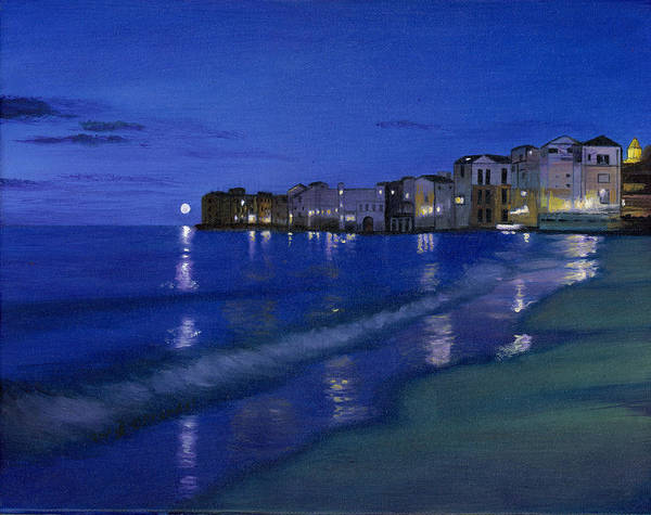 Original Oil On Canvas By Cecilia Brendel Sicily Sicilian Sunset Sun Set Blue Night Sky Evening Reflection Ocean Mediteranean Sea Architecture Beach Landscape Palermo Catania Italy Art Italian Print featuring the painting Sicilian Sunset by Cecilia Brendel