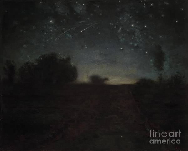 Black Print featuring the painting Starry Night by Jean-Francois Millet
