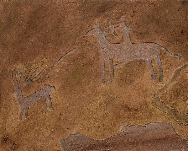 Petroglyph Print featuring the relief The Hunt by Katie Fitzgerald
